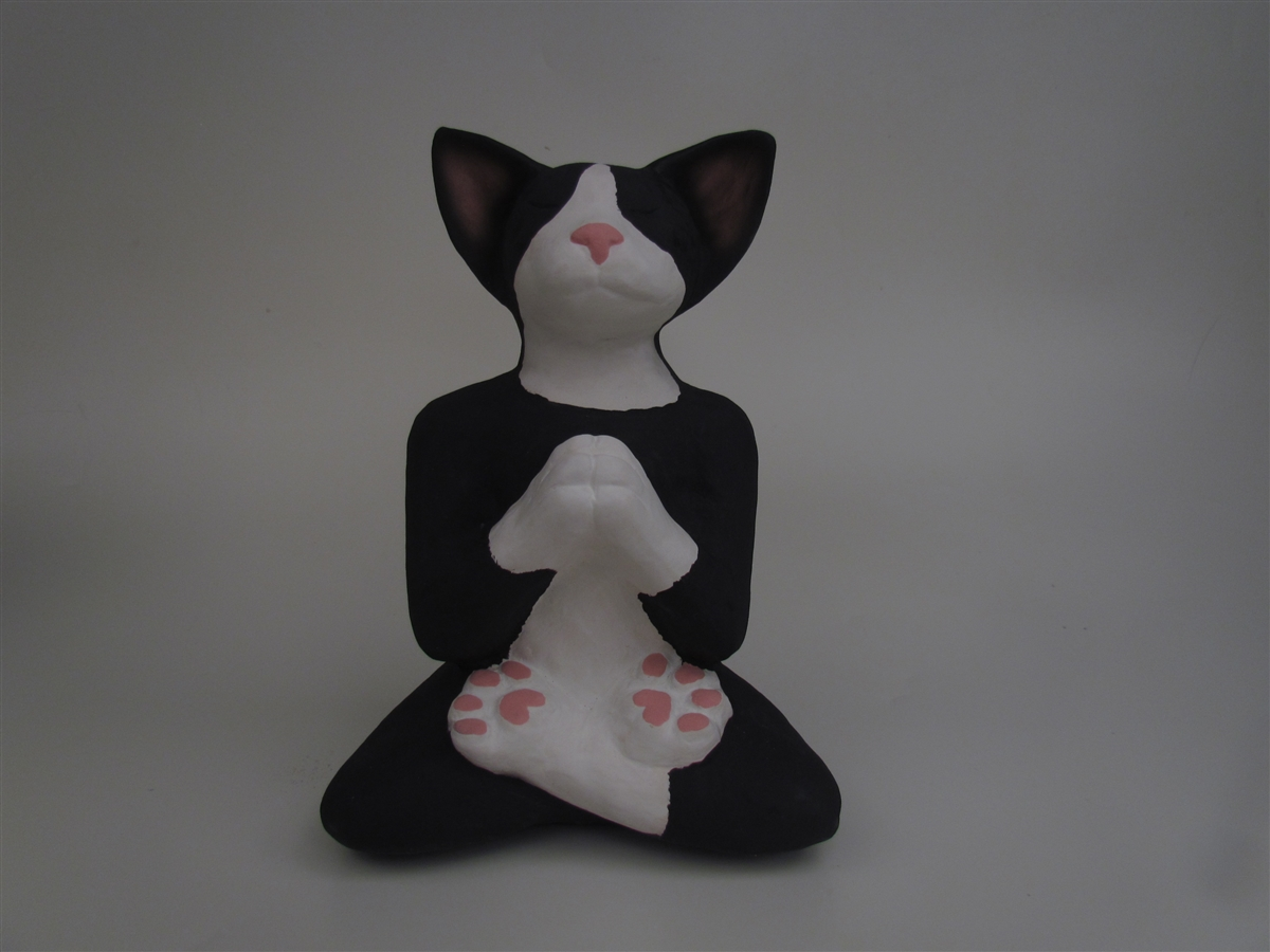 Sleeping Black and White Tuxedo Cat-Shaped Cremation Urn ...